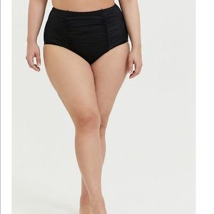 Black ruched high waisted swim bottoms